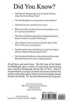 The Battle of Plattsburgh Question & Answer Book (Back)